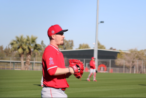 Andrew Heaney preparing to pitch at Spring Training.