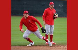 David Fletcher and Taylor Ward doing fielding drills at Spring Training